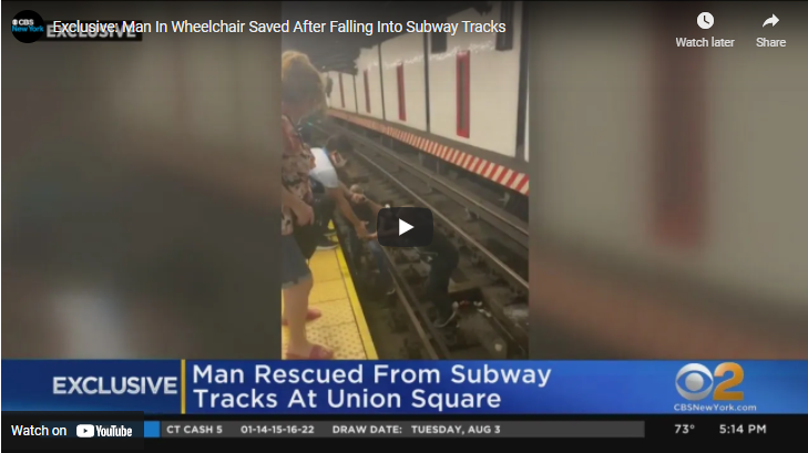WATCH: Good Samaritans Rescue Wheelchair Bound Man After Falling Onto Subway Tracks