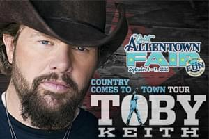 Toby Keith at Great Allentown fair Sept. 3rd