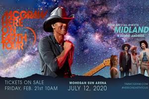 Tim McGraw at Mohegan Sun Arena on July 12th