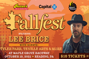 Fallfest starring Lee Brice at Maple Grove Raceway in Reading October 10, 2021