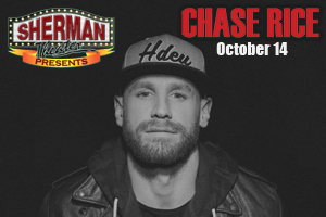 Chase Rice at Sherman Theatre in Stroudsburg on October 14th