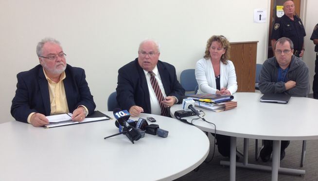 Coventry Fire District board, (l-r) Chairman Frank Palin, Attorney Frederick Tobin, members Brenda Raposo and John Cook. Photo by Steve Klamkin WPRO News