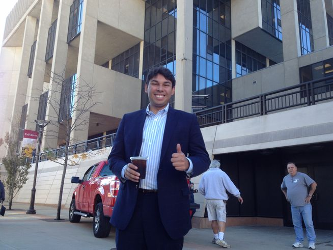 Mayor-elect Jasiel Correia arrives at Government Center hours after his electoral win. Photo by Steve Klamkin WPRO News
