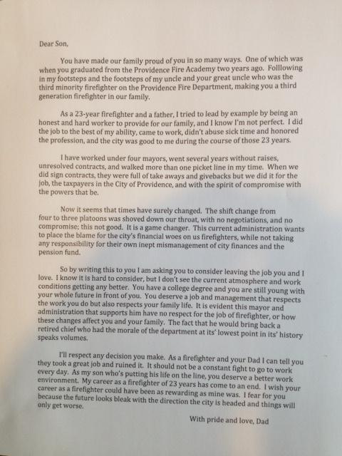 open letter joe marino firefighter