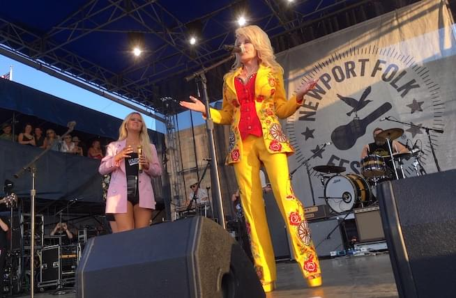 Surprise appearance from Dolly Parton punctuates all-star collaboration at Newport Folk Festival