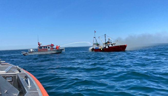Fishing boat burns and sinks on Narragansett Bay