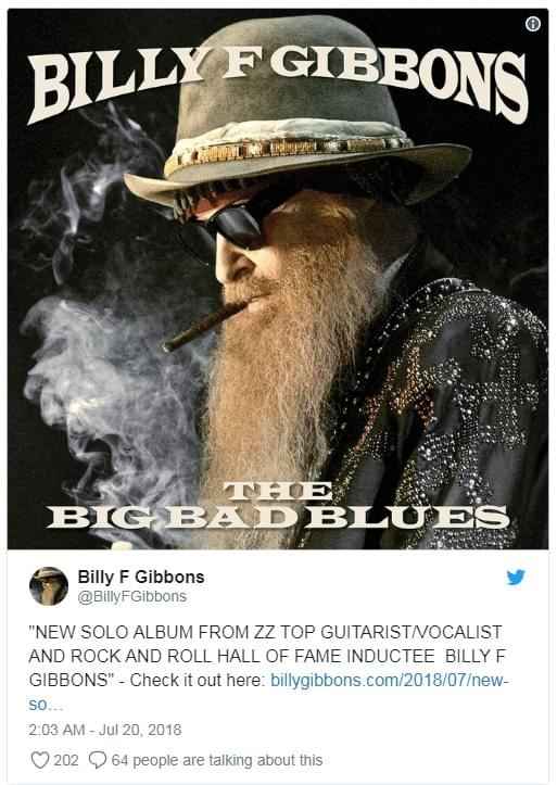 Hear Two New Solo Tracks from Billy F. Gibbons of ZZ Top
