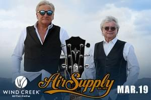 WLEV Welcomes Air Supply to Wind Creek Event Center!
