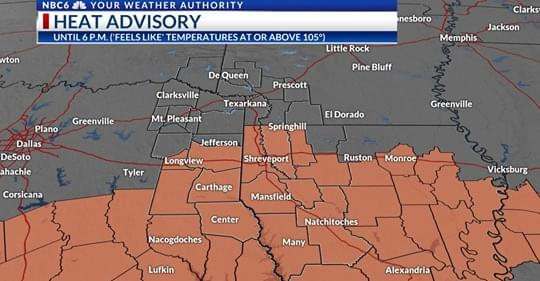Wednesday Weather: Heat Advisory In Effect For Louisiana And Texas