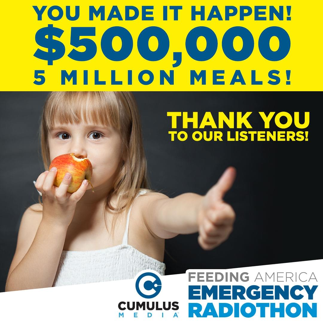 Radio Cares: Feeding America Emergency Radiothon Drives $500,146 to Feeding America in Nationwide Fundraiser to Fight Hunger in the U.S.