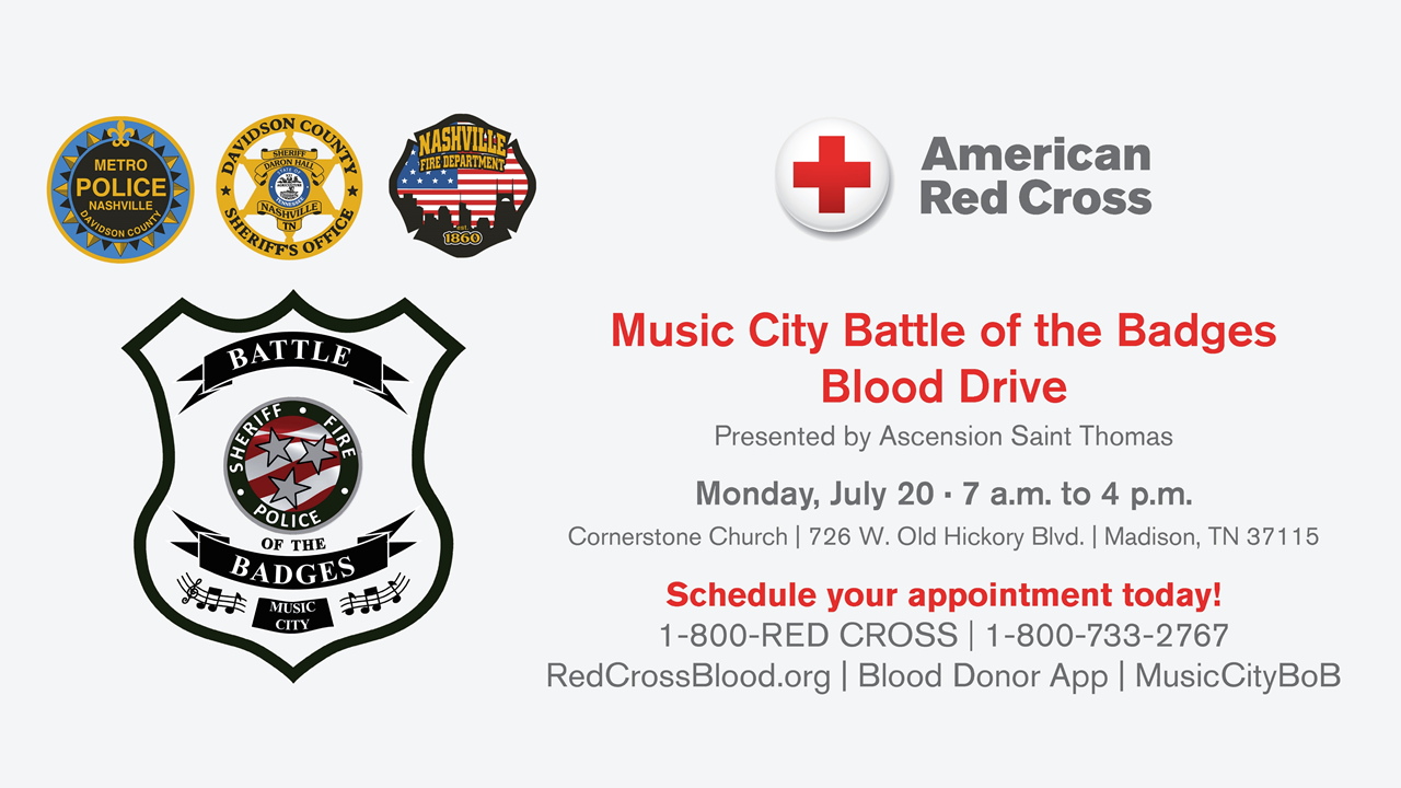 Help save lives this summer at the Music City Battle of the Badges
