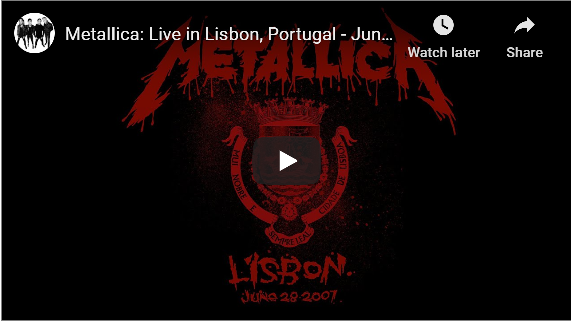 STREAM METALLICA: LIVE IN LISBON FOR FREE TONIGHT AT 8 PM EDT
