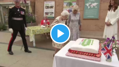 Queen Elizabeth Cuts the Cake… With A Sword