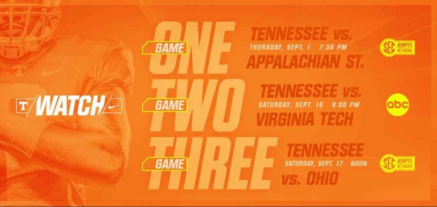 Times, TV Set For Tennessee's 2016 Opening Three Games