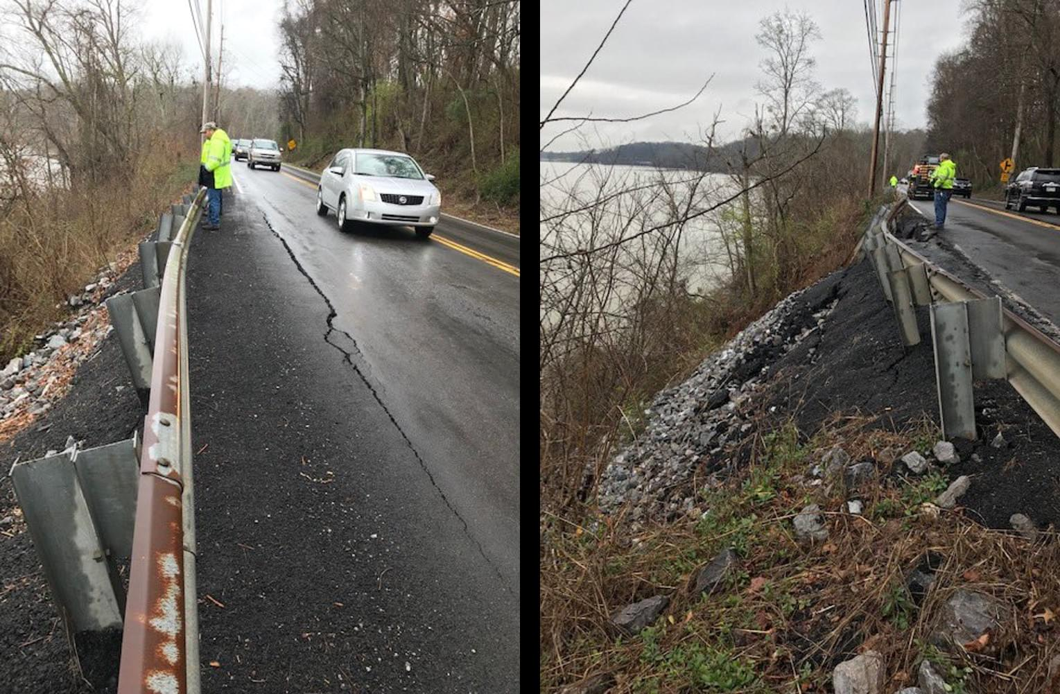 TDOT Investigating Land Slide on Northshore Dr