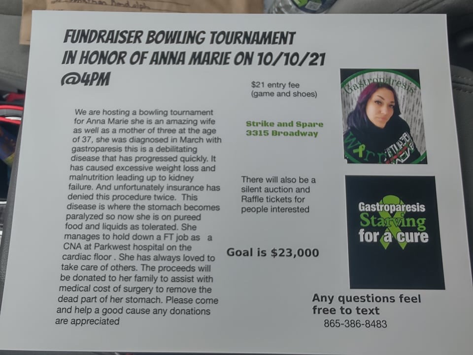 Fundraiser Bowling Tournament in Honor of Anna Marie – October 10th