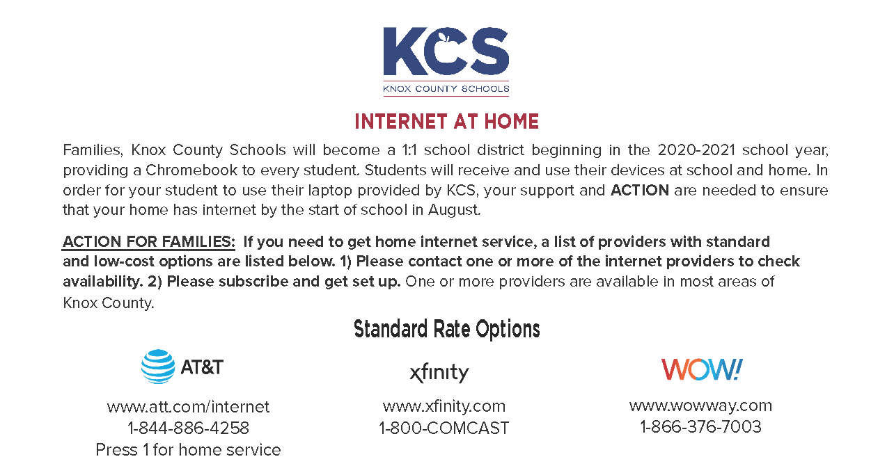 Knox County Schools Detailing Standard and Low-Income Internet Options