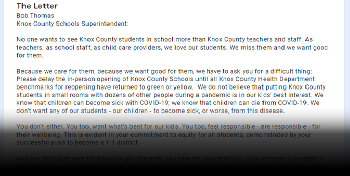 Open Letter to Parents and Knox County Schools