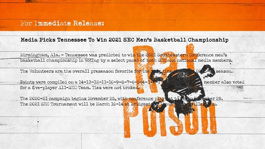 Media Picks Tennessee to Win SEC Basketball Championship