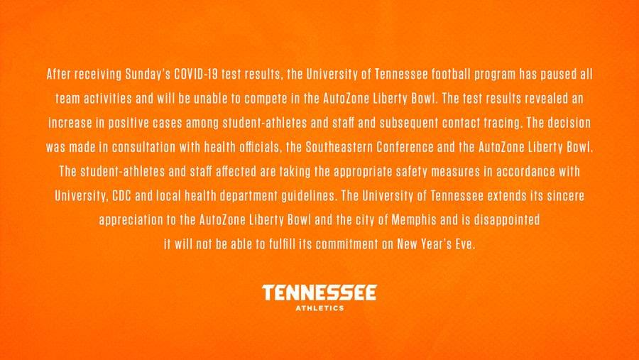Vols won't play in Liberty Bowl due to COVID-19 issues, Pruitt and others tested positive