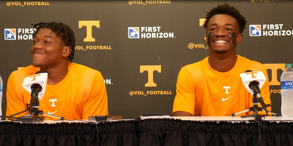 WATCH: Jimmy Calloway & Christian Charles postgame after UT loss to Pitt