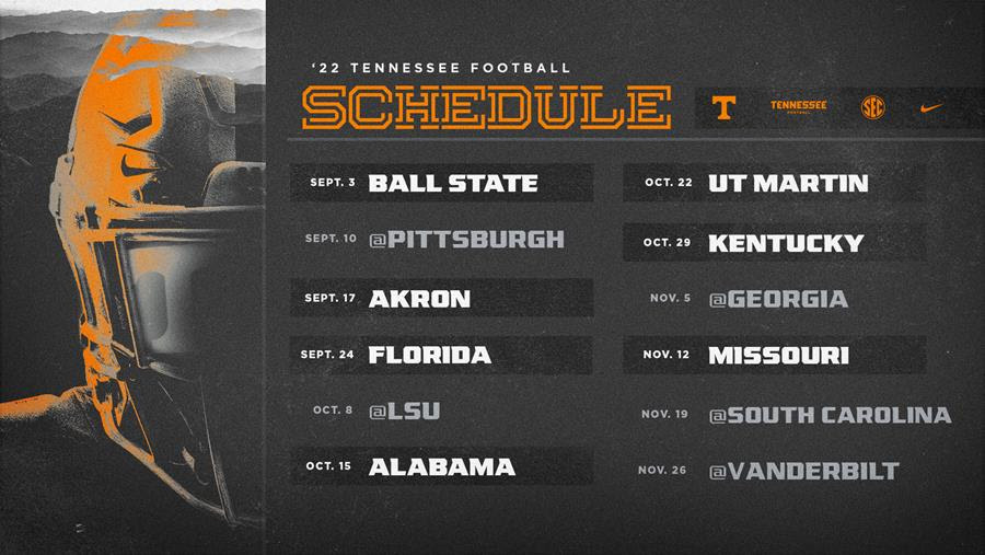 2022 Tennessee Football Schedule Unveiled