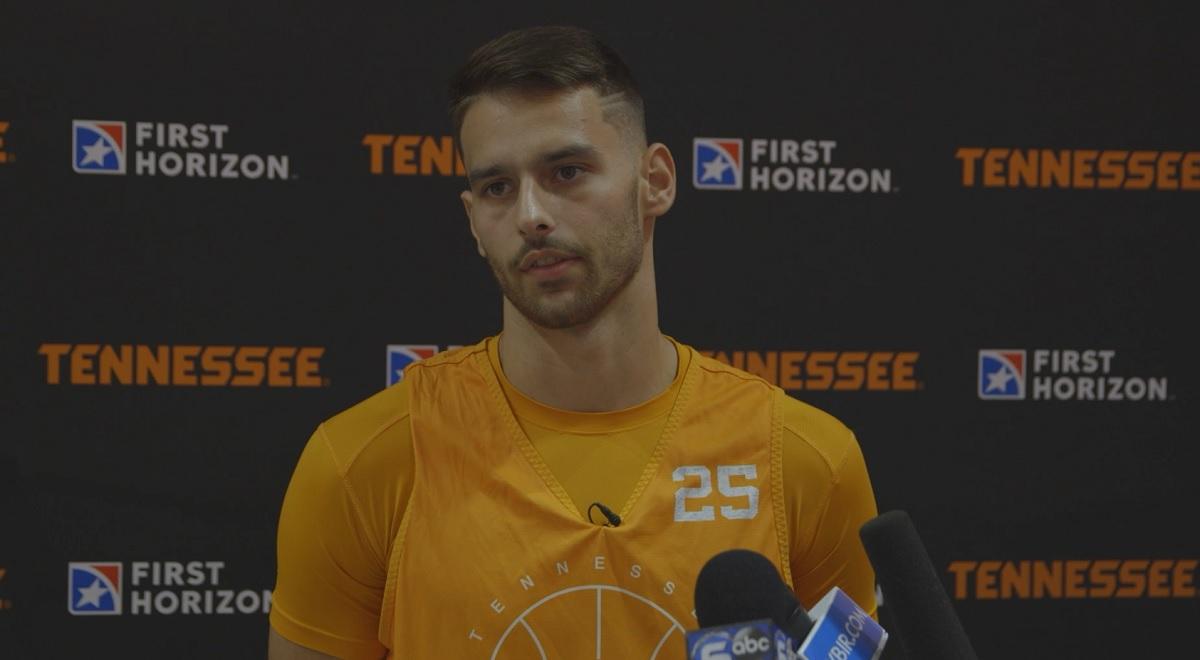 WATCH: Santiago Vescovi talks start of UT hoops practice