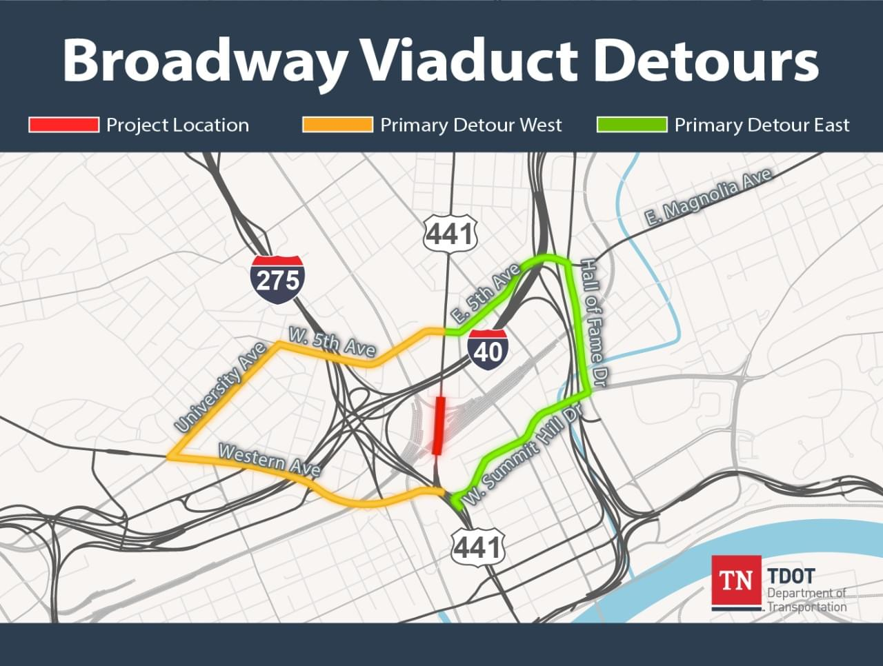Construction Closing Broadway Viaduct for Three Years