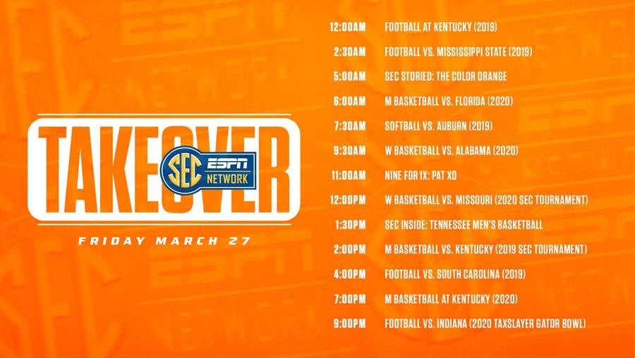 Tennessee Takes Charge Friday with SEC Network Takeover