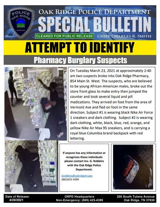 Oak Ridge Police Asking for Help to Find Two Burglary Suspects of a Local Pharmacy