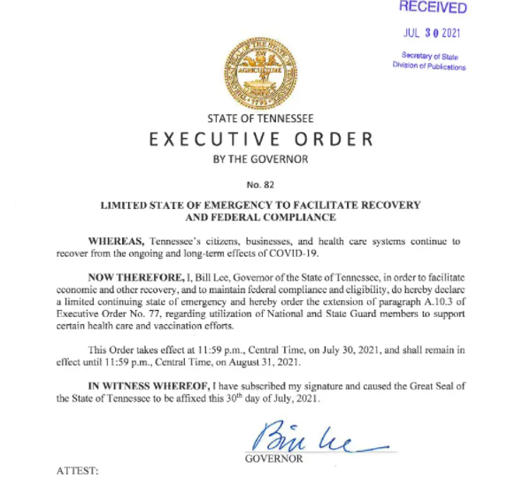Governor Bill Lee Issues Limited State of Emergency Order #82 for Tennessee