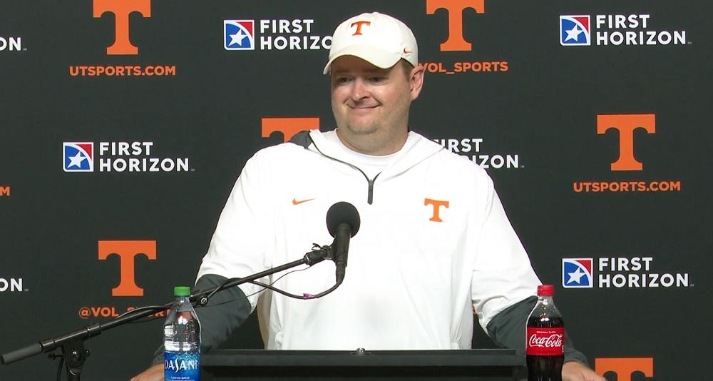 "WATCH: Josh Heupel recaps Practice 1 ""Great day. No, we have not named a quarterback yet."""