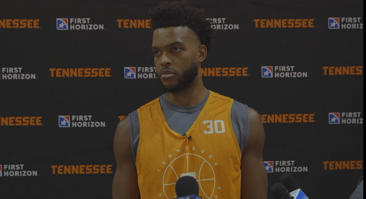 WATCH: Josiah-Jordan James talks start of UT hoops practice