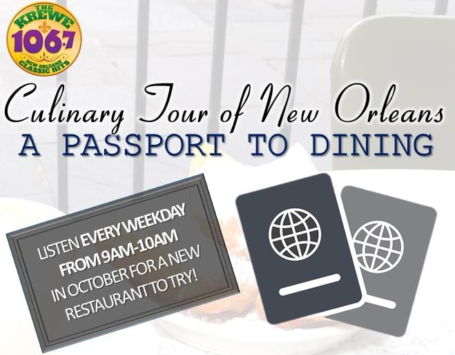 Passport New Orleans >> Culinary Tour Of New Orleans A Passport To Dining 106 7