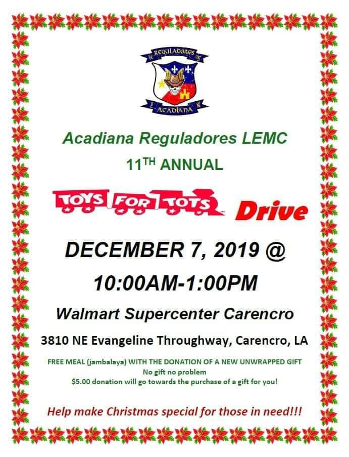 Acadiana Reguladores LEMC 11th Annual Toys for Tots Drive