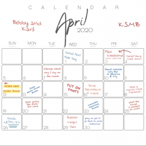 "Our KSMB April ""Stay-At-Home"" Calendar"