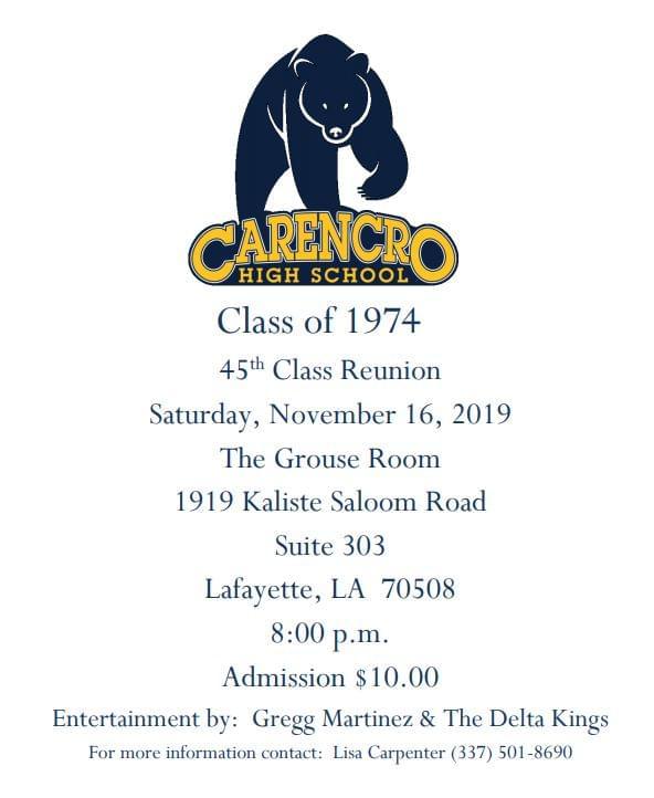 Carencro High School Class of 1974 Reunion