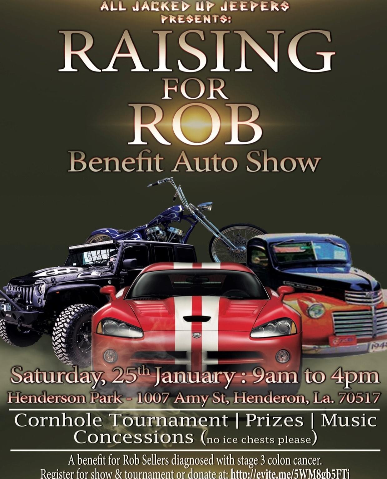 """All Jacked Up Jeepers presents """"Raising for Rob"""" Auto Show"""