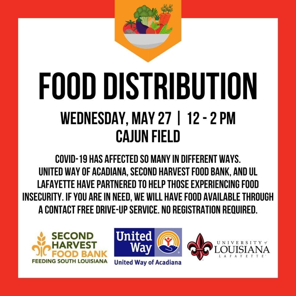 United Way of Acadiana and Second Harvest Food Bank to Host Food Distribution at Cajun Field