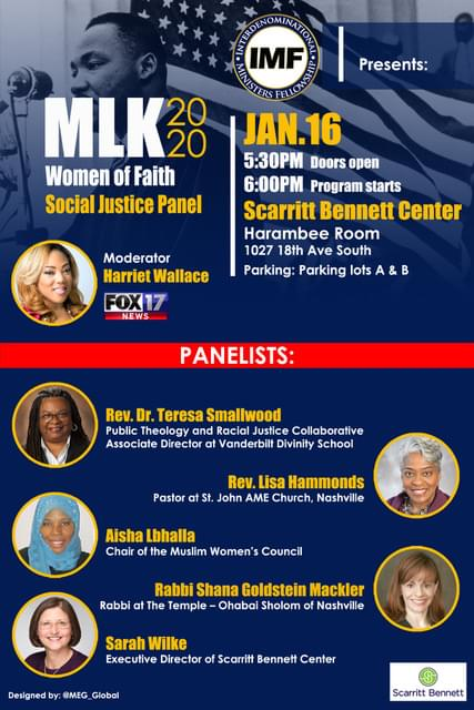January 16, 2020 5:30pm - 8:30pm Join IMF as they discuss the role of faith in the fight for social justice. Be prepared for a truly though provoking discussion!