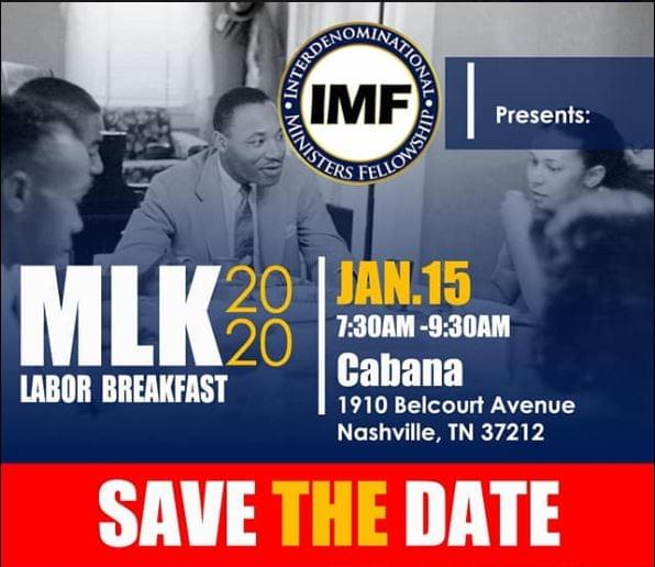 January 15, 2020 7:30am - 9:30am  Join IMF for their annual labor breakfast featuring Gloria Sweetlove, president of the Tennessee State Conference NAACP.