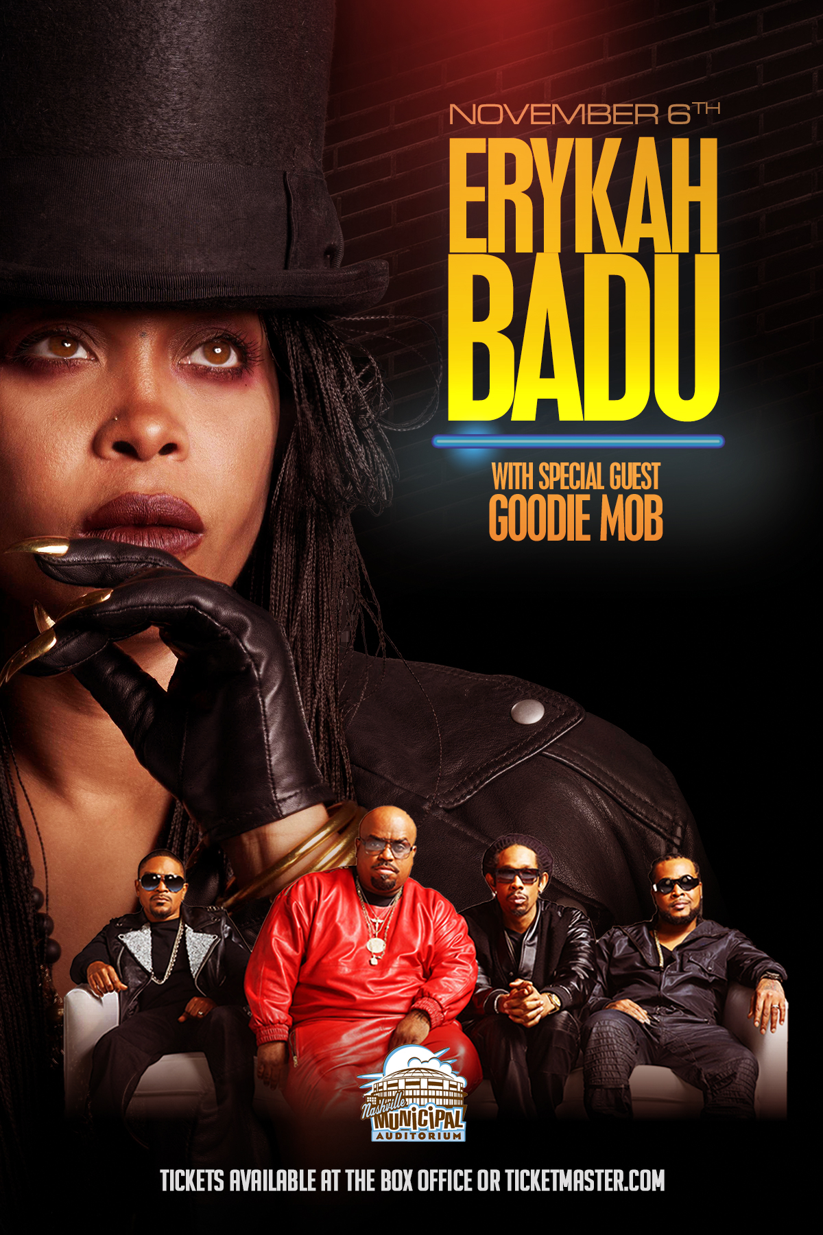 Catch Erykah Badu + Goodie Mob LIVE at Nashville Municipal Auditorium