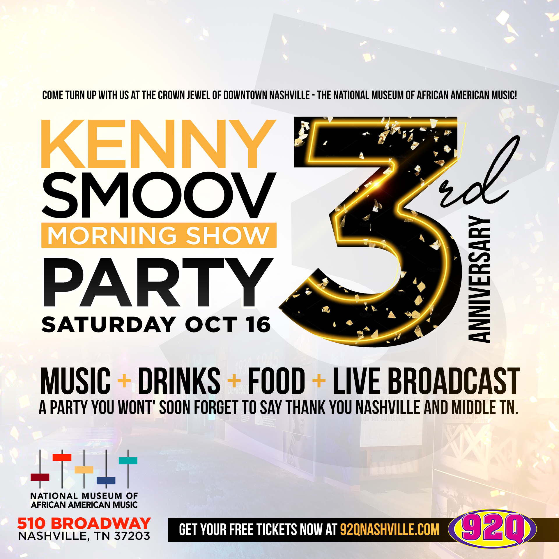 The Kenny Smoov Morning Show Anniversary Party | 92Q's First Boom Box LIVE – Sat., Oct. 16th 2021