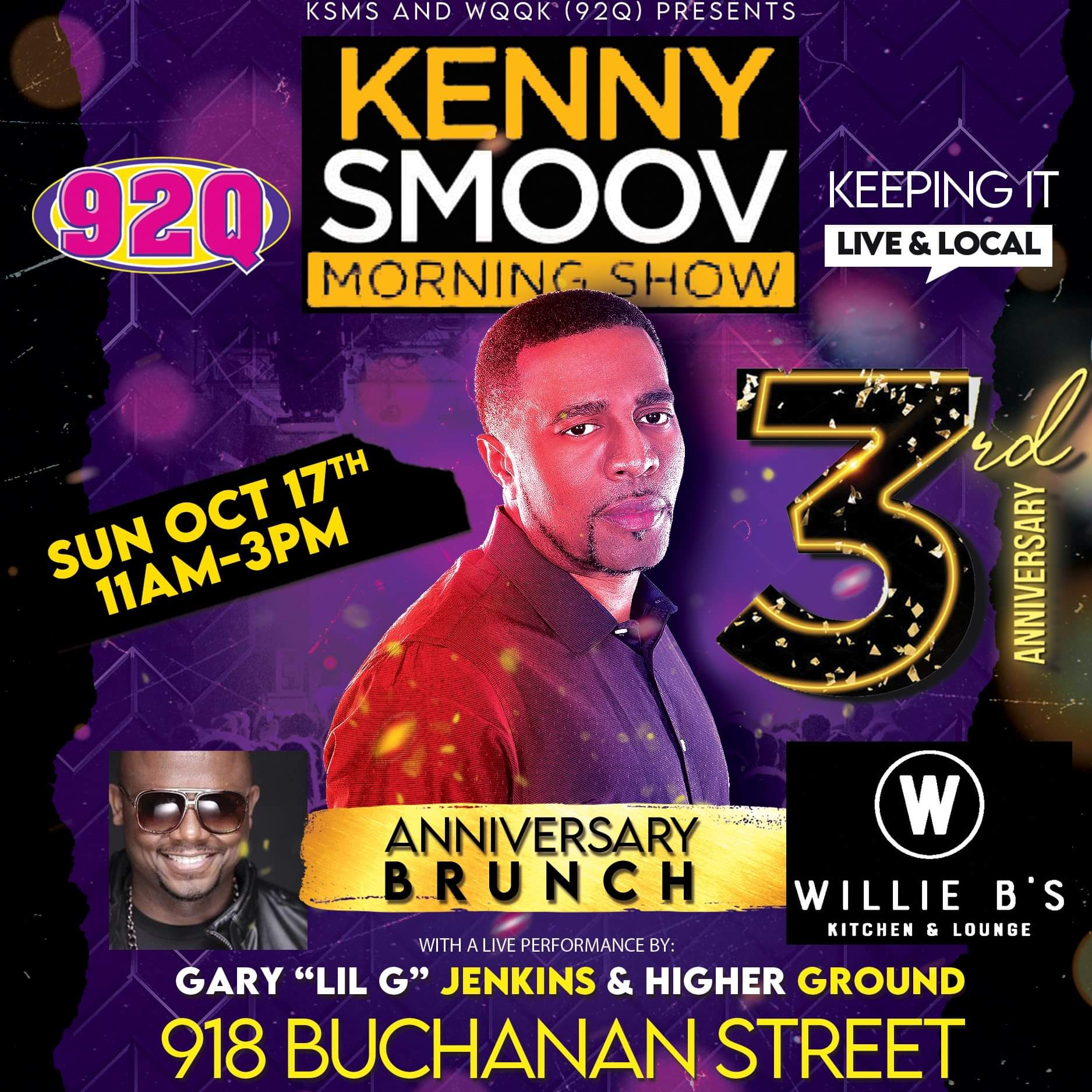 Come Have Brunch on Sunday with The Kenny Smoov Morning Show crew at Willie B's!