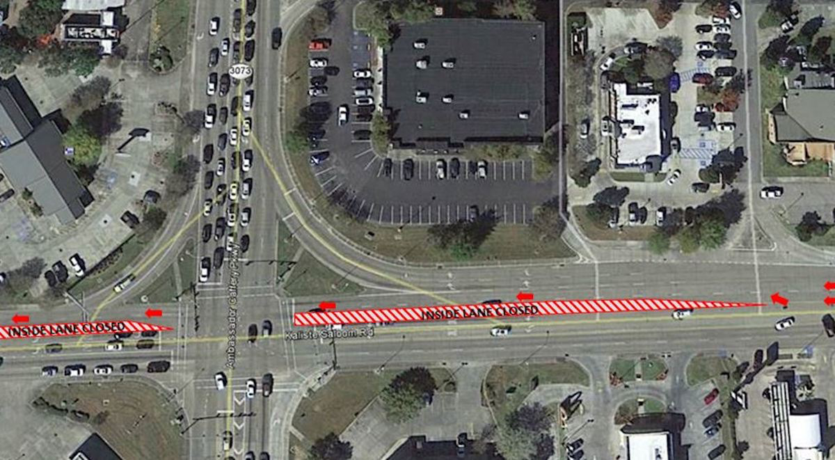 Kaliste Saloom Lane Closure Due To Widening Project