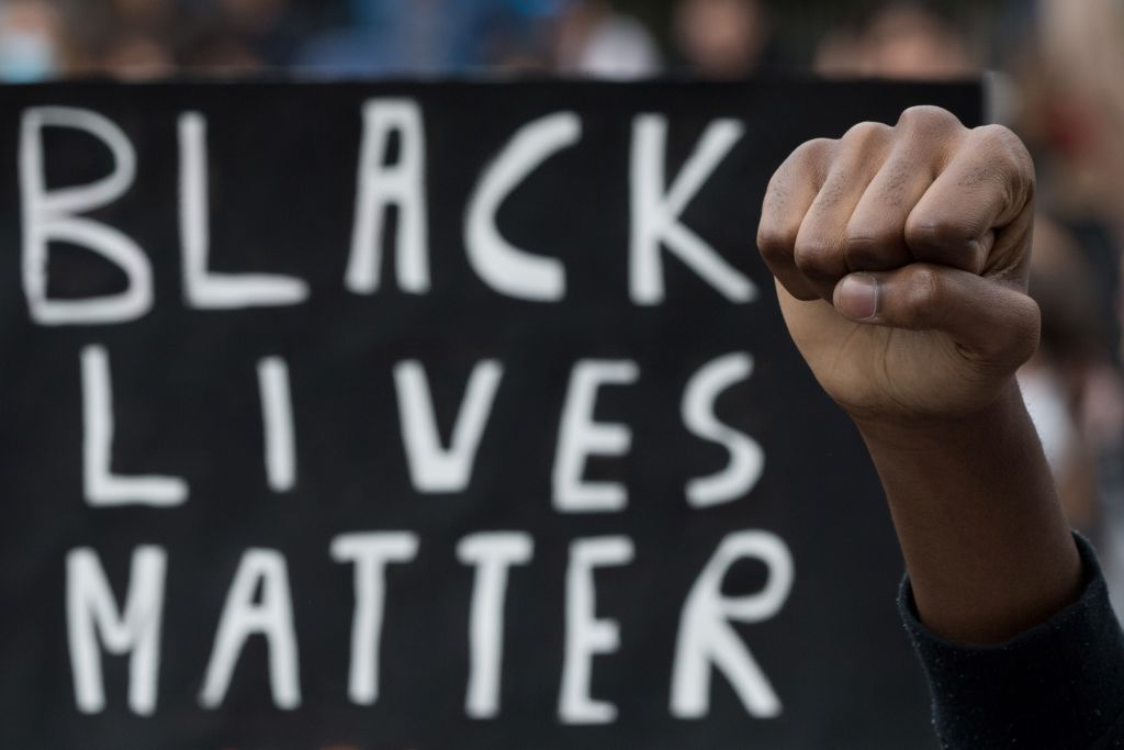 BLACK LIVES MATTER PROTESTERS GATHER AT HOME OF SOLDIER SEEN SHOVING BLACK MAN ON HIS STREET