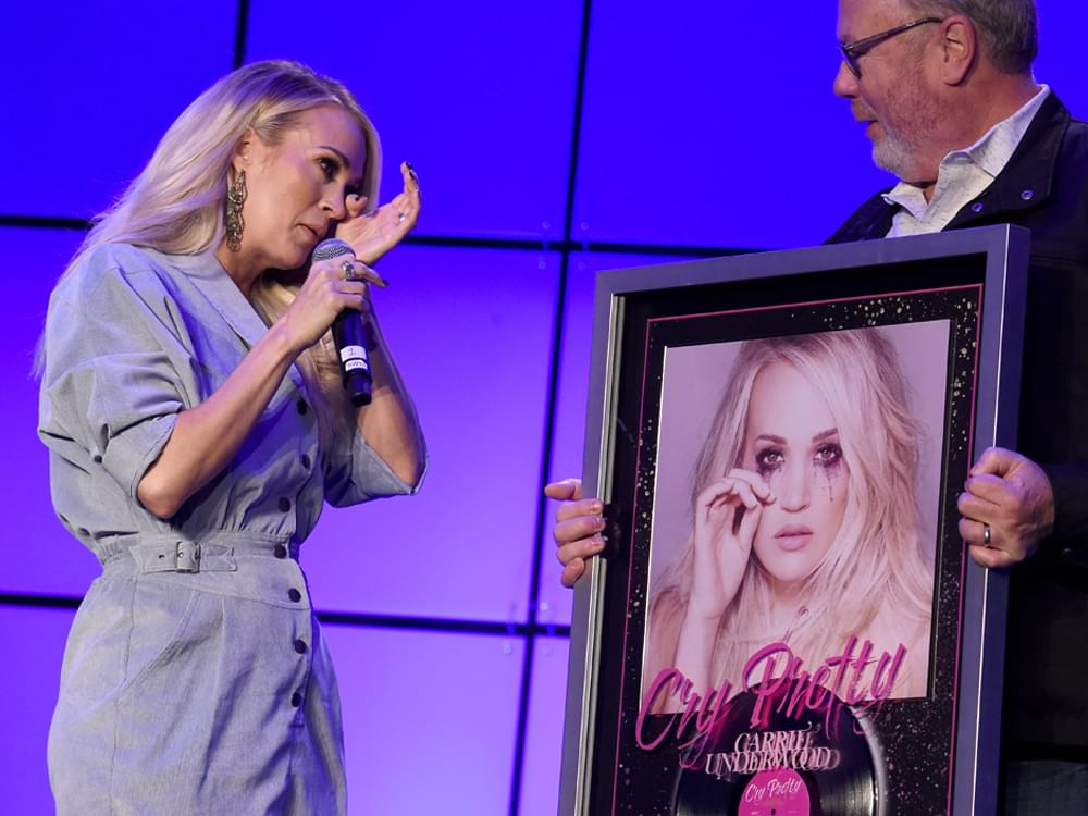 """Carrie Underwood Moved to Tears During Surprise Presentation as """"Cry Pretty"""" Certified Platinum"""