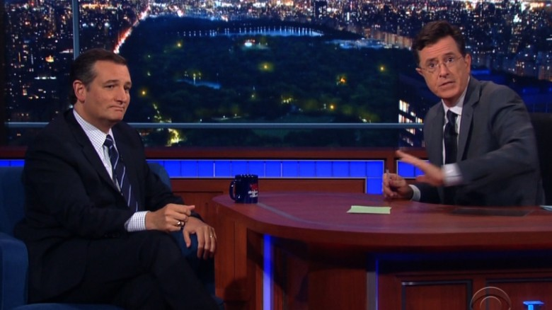 Colbert to audience: Stop booing Ted Cruz