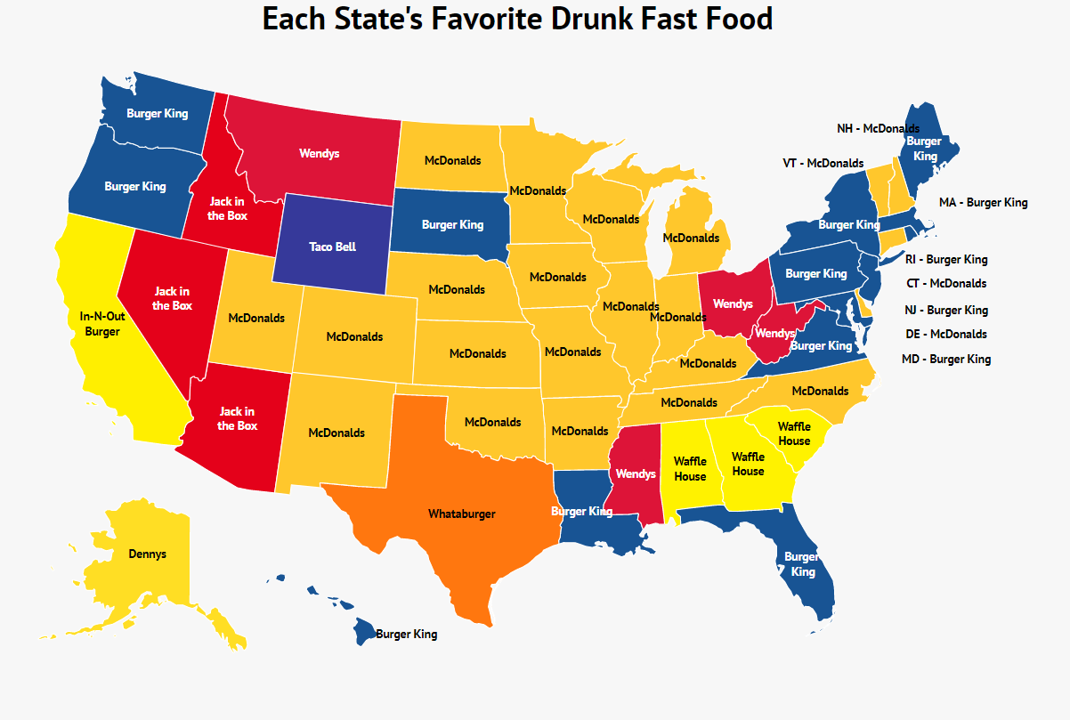 Each State's Favorite Drunk Fast Food