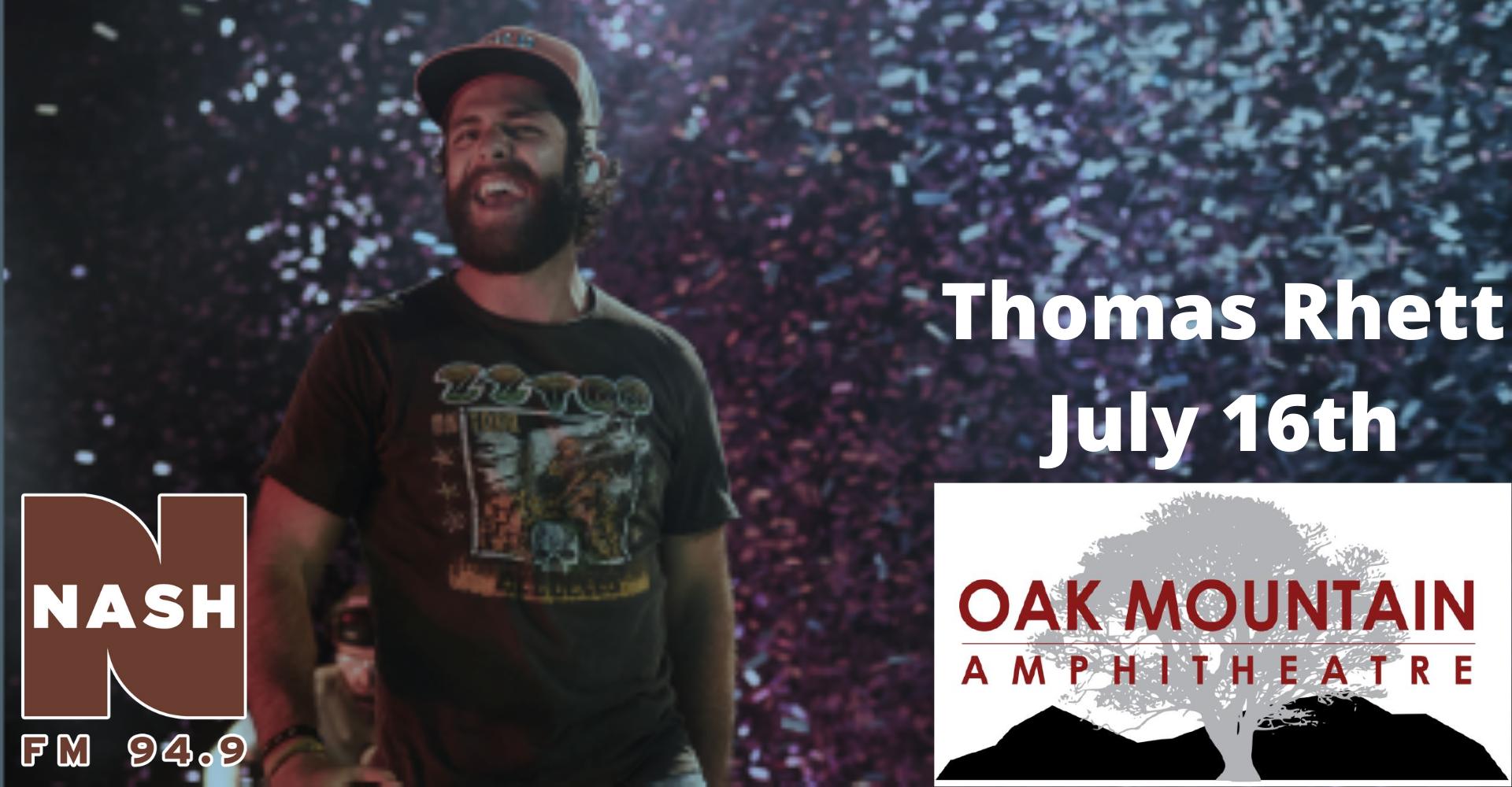 Thomas Rhett at Oak Mountain Amphitheater July 16th